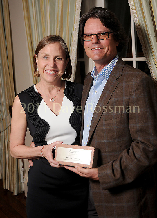 """Winners Claire and Jeff Granberry at Preservation Houston's """"The Cornerstone Dinner""""  presenting the 2018 Good Brick Awards at the River Oaks Country Club Friday March 02,2018. (Dave Rossman Photo)"""