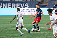 FOXBOROUGH, UNITED STATES - AUGUST 20: Matt Polster #8 of New England Revolution passes the ball during a game between Philadelphia Union and New England Revolution at Gilette on August 20, 2020 in Foxborough, Massachusetts.