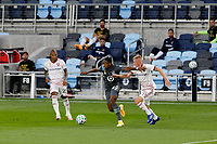 ST PAUL, MN - SEPTEMBER 06: Mason Toye #23 of Minnesota United FC keeps the ball away from Justen Glad #15 of Real Salt Lake during a game between Real Salt Lake and Minnesota United FC at Allianz Field on September 06, 2020 in St Paul, Minnesota.