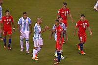 Action photo during the match Argentina vs Chile corresponding to the Final of America Cup Centenary 2016, at MetLife Stadium.<br /> <br /> Foto durante al partido Argentina vs Chile cprresponidente a la Final de la Copa America Centenario USA 2016 en el Estadio MetLife , en la foto:(i-d) Javier Mascherano de Argentina y Arturo Vidal de Chile<br /> <br /> <br /> 26/06/2016/MEXSPORT/JAVIER RAMIREZ