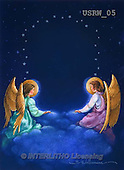 Randy, HOLY FAMILIES, HEILIGE FAMILIE, SAGRADA FAMÍLIA, paintings+++++Angels-in-Clouds,USRW05,#xr#