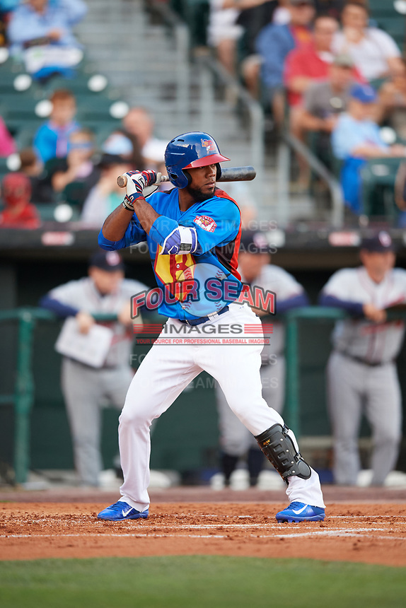 Buffalo Bisons left fielder Teoscar Hernandez (3) at bat during a game against the Gwinnett Braves on August 19, 2017 at Coca-Cola Field in Buffalo, New York.  The Bisons wore special Superhero jerseys for Superhero Night.  Gwinnett defeated Buffalo 1-0.  (Mike Janes/Four Seam Images)