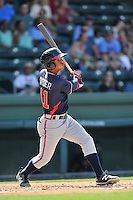 Center fielder Ray-Patrick Didder (11) of the Rome Braves bats in a game against the Greenville Drive on Sunday, July 31, 2016, at Fluor Field at the West End in Greenville, South Carolina. Rome won, 6-3. (Tom Priddy/Four Seam Images)