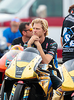 Aug 31, 2019; Clermont, IN, USA; NHRA pro stock motorcycle rider Cory Reed during qualifying for the US Nationals at Lucas Oil Raceway. Mandatory Credit: Mark J. Rebilas-USA TODAY Sports