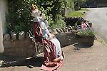 Queen Elizabeth ii dummy outside house to celebrate the Queens Diamond Jubilee. Kilve Somerset UK
