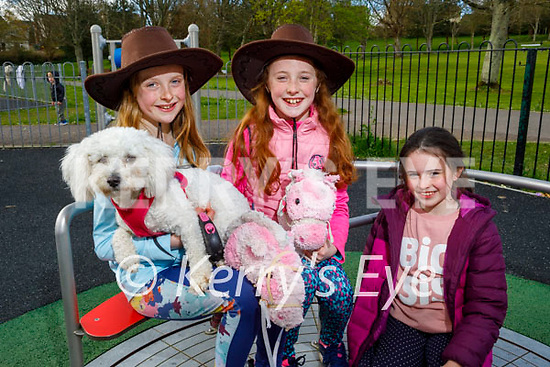 Enjoying the playground in the Listowel town park on Saturday, l to r: Sophie and Chloe O'Flaherty and Katie Healy with Maddie the dog.