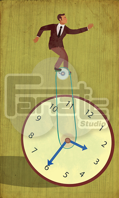 Conceptual illustration of businessman on unicycle of clock representing time management