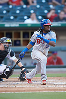 Alen Hanson (31) of the Buffalo Bisons follows through on his swing against the Charlotte Knights at BB&T BallPark on July 24, 2019 in Charlotte, North Carolina. The Bisons defeated the Knights 8-4. (Brian Westerholt/Four Seam Images)