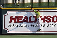 Right fielder Ian Strom (40) of the Columbia Fireflies slams into the outfield wall but fails to catch a hit in a game against the Rome Braves on Sunday, August 20, 2017, at Spirit Communications Park in Columbia, South Carolina. Rome won, 11-6 in 16 innings. (Tom Priddy/Four Seam Images)