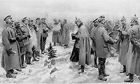 BNPS.co.uk (01202 558833)<br /> Pic: Pen&Sword/BNPS<br /> <br /> Pictured: An internal illustration from the same journal gives an artist's depiction of the fraternisation.<br /> <br /> Previously unseen accounts of the First World War Christmas Day truce from the German side have come to light over 100 years on.<br /> <br /> British historian Anthony Richards has pored over hundreds of German diaries to shed new light on the temporary ceasefire in 1914.<br /> <br /> The fascinating accounts include one by a soldier who described the truce as a 'miracle' and called enemy troops his 'brothers'.