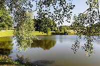 Teich von Schloss Panemunes Pilis, Litauen, Europa