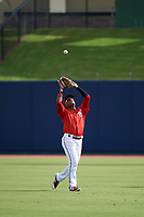 GCL Nationals right fielder Juan Evangelista (2) during warmups before the first game of a doubleheader against the GCL Mets on July 22, 2017 at The Ballpark of the Palm Beaches in Palm Beach, Florida.  GCL Mets defeated the GCL Nationals 1-0 in a seven inning game that originally started on July 17th.  (Mike Janes/Four Seam Images)
