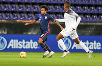 WIENER NEUSTADT, AUSTRIA - NOVEMBER 16: Weston McKennie #8 of the United States moves with the ball during a game between Panama and USMNT at Stadion Wiener Neustadt on November 16, 2020 in Wiener Neustadt, Austria.
