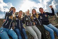 2016, 12 April, Arena Loire, Trélazè,  Semifinal FedCup, France-Netherlands,  Dutch team at the `Chateau, ltr: Arantxa Rus, Cindy Burger, Kiki Bertens, Richel Hogenkamp and Captain Paul Haarhuis<br /> Photo:Tennisimages/Henk Koster