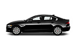 Car driver side profile view of a 2019 Jaguar XE R-Sport 4 Door Sedan