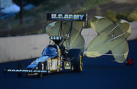 Jul, 20, 2012; Morrison, CO, USA: NHRA top fuel dragster driver Tony Schumacher during qualifying for the Mile High Nationals at Bandimere Speedway. Mandatory Credit: Mark J. Rebilas-US PRESSWIRE