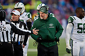 New York Jets assistant special teams coach Jeff Hammerschmidt questions a call during an NFL football game against the Buffalo Bills, Sunday, December 9, 2018, in Orchard Park, N.Y.  (Mike Janes Photography)