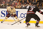 Pat Mullane (BC - 11), Josh Manson (NU - 3) - The Boston College Eagles defeated the Northeastern University Huskies 6-3 for their fourth consecutive Beanpot championship on Monday, February 11, 2013, at TD Garden in Boston, Massachusetts.