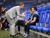 18.04.2018, Football DFB Pokal 2017/2018, semi final , FC Schalke 04 - Eintracht Frankfurt, in Veltins Arena auf Schalke. v.li: Fredi Bobic (Frankfurt), sport director  Bruno Huebner (Eintracht Frankfurt), Manager Christian Heidel (Frankfurt).<br />    *** Local Caption *** © pixathlon<br /> <br /> Contact: +49-40-22 63 02 60 , info@pixathlon.de