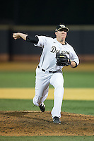 Wake Forest Demon Deacons relief pitcher Chris Farish (32) delivers a pitch to the plate against the USC Trojans at David F. Couch Ballpark on February 24, 2017 in  Winston-Salem, North Carolina.  The Demon Deacons defeated the Trojans 15-5.  (Brian Westerholt/Four Seam Images)