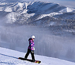 Snowboarder Emma Shapera ripping it up on Powder Mountain, Utah