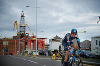 Edvald Boasson Hagen (NOR/SKY) against Belfast harbor backdrop (where the Titanic was made...) returning to the finish after dropping out of the TTT-formation.<br /> <br /> Giro d'Italia 2014<br /> stage 1: TTT