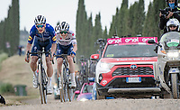 """Remco Evenepoel (BEL/Deceuninck-QuickStep) piloted by Joao Almeida (POR/Deceuninck - Quick Step) hoping to limit his GC losses over the final gravel sector of the day.<br /> <br /> 104th Giro d'Italia 2021 (2.UWT)<br /> Stage 11 from Perugia to Montalcino (162km)<br /> """"the Strade Bianche stage""""<br /> <br /> ©kramon"""