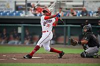 Auburn Doubledays Landerson Pena (30) bats during a NY-Penn League game against the Batavia Muckdogs on September 2, 2019 at Falcon Park in Auburn, New York.  Batavia defeated Auburn 7-0.  (Mike Janes/Four Seam Images)