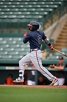 GCL Braves Eliezel Stevens (8) bats during a Gulf Coast League game against the GCL Orioles on August 5, 2019 at Ed Smith Stadium in Sarasota, Florida.  GCL Orioles defeated the GCL Braves 4-3 in the first game of a doubleheader.  (Mike Janes/Four Seam Images)
