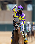 July 10, 2020: Umberto Rispoli celebrates winning his first ever ride on Opening Day  at Del Mar Race Track in Del Mar, California on July 10, 2020. The legendary racetrack dubbed Where The Surf Meets The Turf is facing a temporary suspension of racing after 15 jockeys tested positive for coronavirus this week. Alex Evers/Eclipse Sportswire/CSM