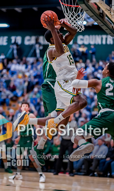 12 March 2019: University of Vermont Catamount Forward Ra Kpedi, a Sophomore from Indianapolis, IN, lays one up in the second half of game action against the Binghamton University Bearcats at Patrick Gymnasium in Burlington, Vermont. The top-seeded Catamounts advanced to their fourth-straight America East conference championship game, defeating the Bearcats 84-51. Mandatory Credit: Ed Wolfstein Photo *** RAW (NEF) Image File Available ***