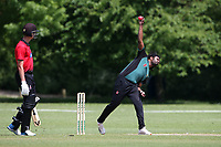 T Abbas in bowling action for Harold Wood during Hornchurch CC vs Harold Wood CC, Hamro Foundation Essex League Cricket at Harrow Lodge Park on 5th June 2021