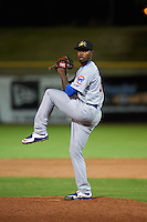 Mesa Solar Sox pitcher David Garner (46) delivers a pitch during an Arizona Fall League game against the Scottsdale Scorpions on October 20, 2015 at Scottsdale Stadium in Scottsdale, Arizona.  Mesa defeated Scottsdale 5-4.  (Mike Janes/Four Seam Images)