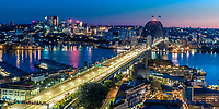 Sydney Bay and city lights and landmarks, in Australia, Oceania.