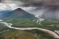 Aerial of the John River and Allen River, Brooks Range mountains, Arctic, Alaska.