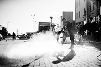 Trek-Segafredo mechanic Julen Urbano cleaning the bikes after the stage<br /> <br /> 100th Giro d'Italia 2017