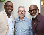 Ron Gillary, Sam Rudy and Bebe Winans during the Retirement Celebration for Sam Rudy at Rosie's Theater Kids on July 17, 2019 in New York City.