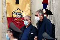 Tv host Paolo Bonolis during the funeral of the Italian actor Gigi Proietti. The actor was taken to the Globe Theatre for a short ceremony before the one in the church of Artist in Piazza del popolo.<br /> Rome (Italy), November 5th 2020<br /> Photo Samantha Zucchi Insidefoto