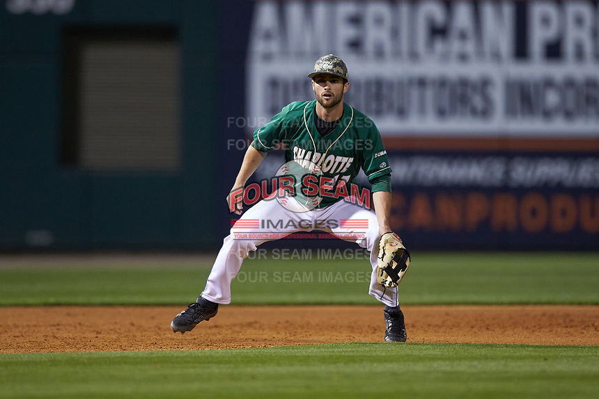 Charlotte 49ers third baseman Derek Gallello (41) on defense against the North Carolina State Wolfpack at BB&T Ballpark on March 29, 2016 in Charlotte, North Carolina. The Wolfpack defeated the 49ers 7-1.  (Brian Westerholt/Four Seam Images)