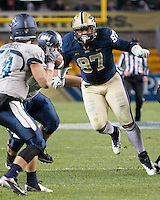 Pitt defensive lineman Aaron Donald (97) rushes the quarterback. The Pitt Panthers defeated the Old Dominion Monarchs 35-24 at Heinz Field, Pittsburgh, Pennsylvania on October 19, 2013.