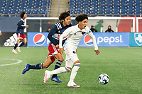 FOXBOROUGH, MA - OCTOBER 09: Joshua Saavedra #26 of Fort Lauderdale CF brings the ball forward during a game between Fort Lauderdale CF and New England Revolution II at Gillette Stadium on October 09, 2020 in Foxborough, Massachusetts.