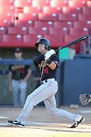 Dean Espy #14 of the Modesto Nuts bats against the High Desert Mavericks at Heritage Field on June 29, 2014 in Adelanto, California. High Desert defeated Modesto, 6-1. (Larry Goren/Four Seam Images)