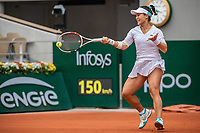 28th September 2020, Roland Garros, Paris, France; French Open tennis, Roland Garros 2020;   Kristie AHN USA plays a forehand during her match against Serena WILLIAMS USA in the Philippe Chatrier court on the first round of the French Open