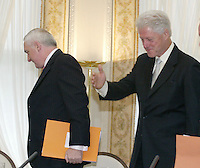 29/9/'06.The Taoiseach Bertie Ahern met with President Clinton for the signing of a Memorandum of Understanding with the Clinton Foundation regarding Aids in Africa at Farmleigh House, Phoenix Park, Dublin..PIC COLLINS PHOTOS..