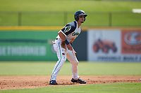 Drew Waters (11) of the Gwinnett Stripers takes his lead off of second base against the Scranton/Wilkes-Barre RailRiders at Coolray Field on August 18, 2019 in Lawrenceville, Georgia. The RailRiders defeated the Stripers 9-3. (Brian Westerholt/Four Seam Images)