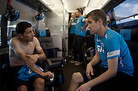 back on the teambus after the race, dokter Sarriegui checks with Sergio Henao (COL/SKY) on his injuries<br /> <br /> stage 20: San Lorenzo de el Escorial - Cercedilla (176km)<br /> 2015 Vuelta à Espana