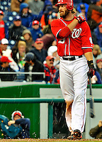 2 April 2011: Washington Nationals outfielder Jayson Werth stands at home plate as the game is delayed on the account of hail. Play resumed 45 minutes later against the Atlanta Braves at Nationals Park in Washington, District of Columbia. The Nationals defeated the Braves 6-3 in the second game of their season opening series. Mandatory Credit: Ed Wolfstein Photo