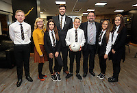 Pictured: The winners, pupils from Pentrehafod School with Graham Smith and headteacher Wednesday 25 November 2015<br /> Re: Schools take part in this year's Premier League Enterprise vent at Penderyn Suite, Liberty Stadium, Swansea, UK