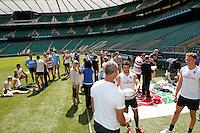 Photo: Richard Lane/Richard Lane Photography. .Emirates Airline Media training day with the England Sevens team at Twickenham. 13/05/2011. England Sevens training.