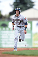 Mahoning Valley Scrappers outfielder Taylor Murphy (30) running the bases during a game against the Batavia Muckdogs on August 24, 2014 at Dwyer Stadium in Batavia, New York.  Mahoning Valley defeated Batavia 7-6.  (Mike Janes/Four Seam Images)